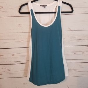 VINCE Sodt Flowy Tank Teal & White